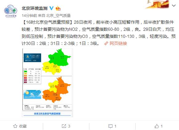 北京明日轻度污染 预计首要污染物为臭氧