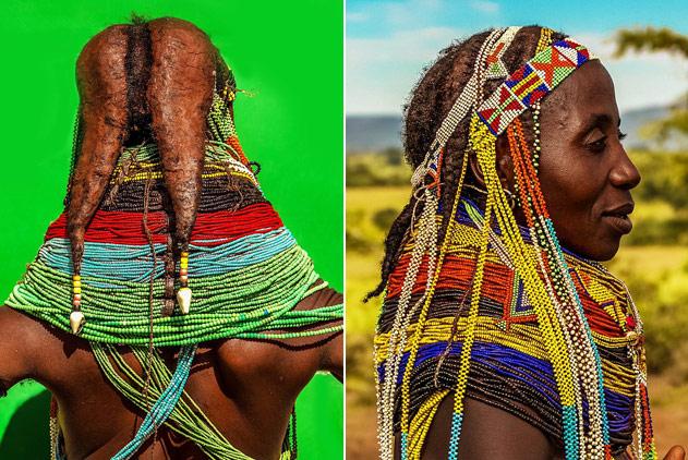 安哥拉土著妇女佩戴厚重项链并用牛粪做发型