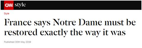 停止异想天开!法国参议?#28023;?#24052;黎圣母院必须完全恢复原貌