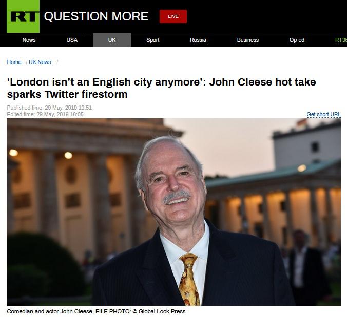 """因伦敦最支持留欧,英演员竟称伦敦""""不再是真正的英国城市"""""""