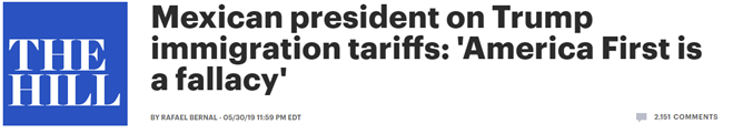 """墨西哥总统回应加征关税:愿避免与美方对抗,但""""美国优先""""是谬论"""