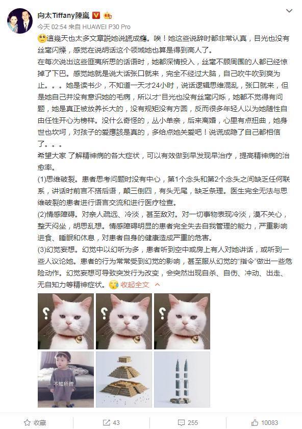 向太评论张柏芝综艺争议:说谎成瘾自己都信了