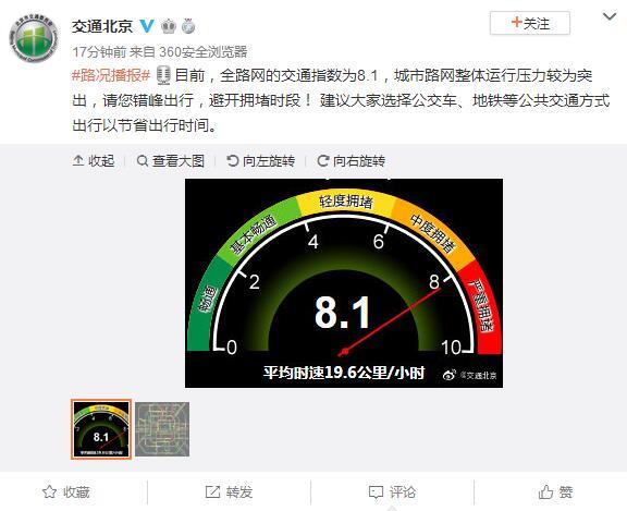 北京交通委提醒:城市路网整体运行压力较为突出,请错峰出行