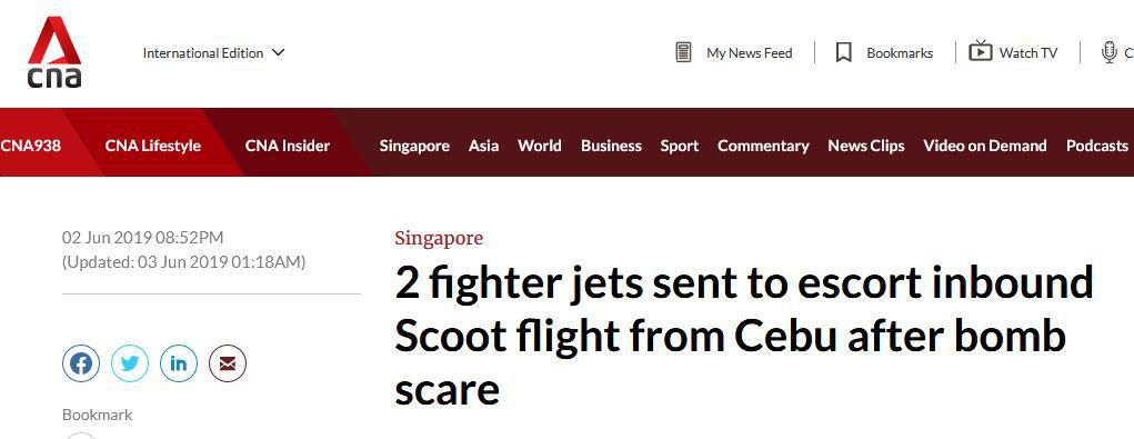 """客机空中遭""""炸弹威逼"""",新加坡紧急出动2架战机护航,网友怒赞!"""