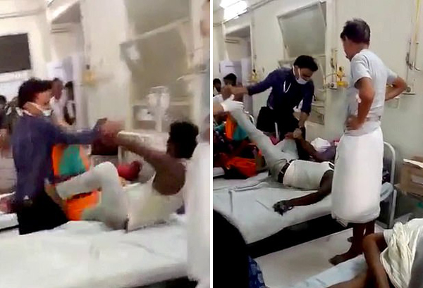 惊呆!印度一医生跳上病床暴打一医闹病人