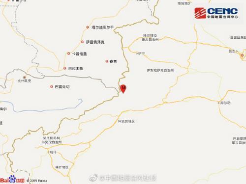 新疆阿克苏地区温宿县发生3.8级地震 震源深度5千米
