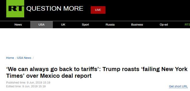 """就美墨新协议被""""泼冷水"""",特朗普发推特怒骂《纽约时报》"""