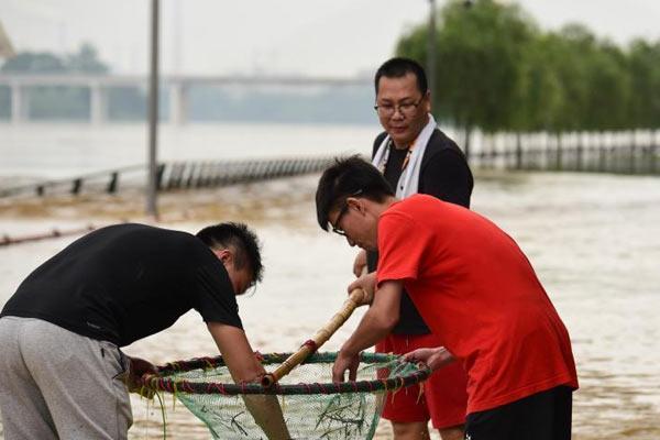洪水漫上城市道路 市民下水捕鱼洗车