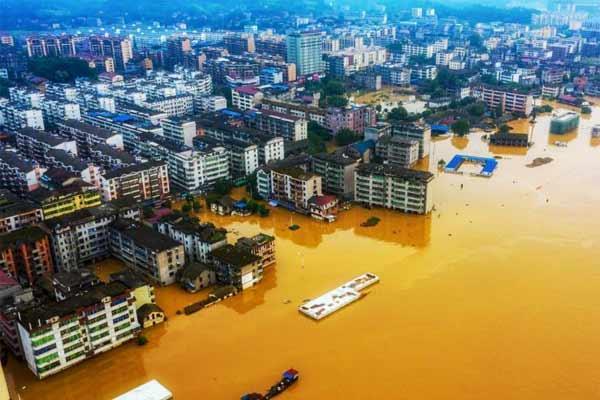航拍江西峡江受灾地区 房屋浸泡水中