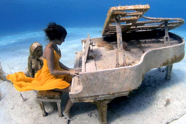 """巴哈马小哥拍水下钢琴师 """"美人鱼""""侧耳倾听"""