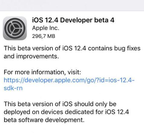 苹果发布iOS 12.4 beta 4等测试版系统更新