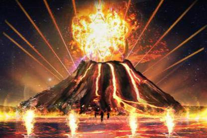 水与火的交融 400平米水幕再现火山喷发