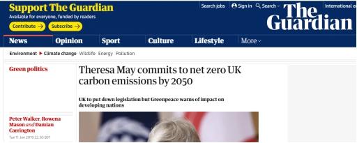 """梅的""""遗产""""?英国要立法承诺2050年前净零碳排放,G7中第一"""