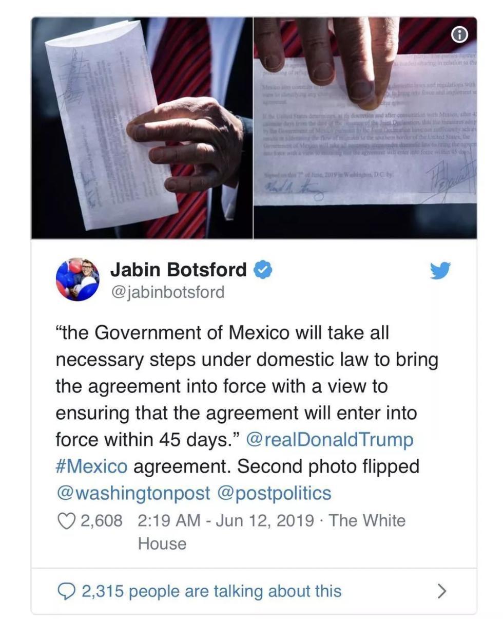 """特朗普在白宫对着记者一掏兜,""""美墨秘密协议""""就泄露了"""