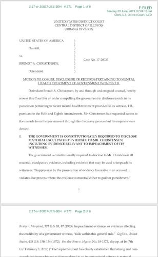 辩方律师9日提出动议,称检方重要证人T.B。的精神疾病影响作证能力。( 法院文件截图)