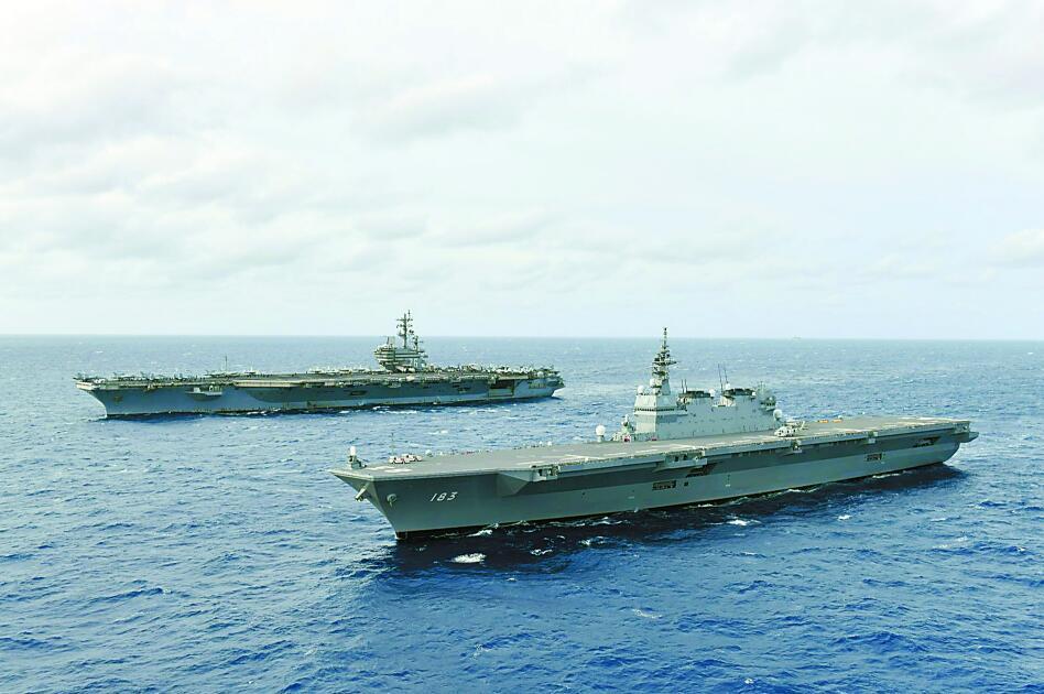 """美日""""双航母""""在南海军演 日借机学习航母经验"""
