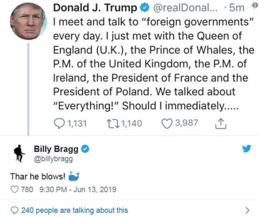 """英国威尔士亲王变""""鲸鱼亲王""""?特朗普推特又犯错"""