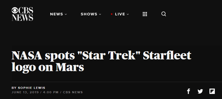 火星表面惊现酷似星际舰队标志的图案,网友:外星人打招呼的方式