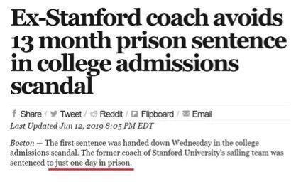 斯坦福招生腐败案收钱教练被判了,刑期让人大跌眼镜