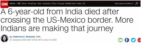 6岁印度女童穿越美墨边境时死亡 印度非法移民令美担忧