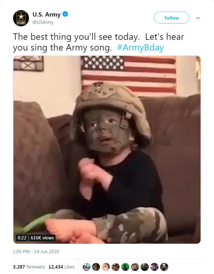 美国陆军发布男童戴头盔唱军歌视频挨批:保护好孩子吧!