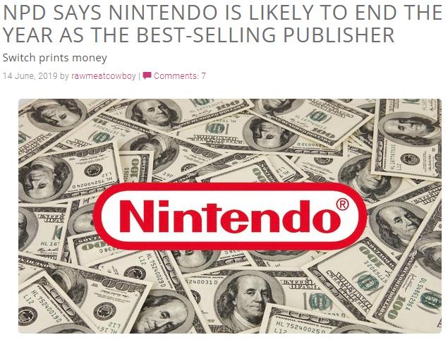 任天堂将成2019最畅销发行商 《使命召唤16》将大卖