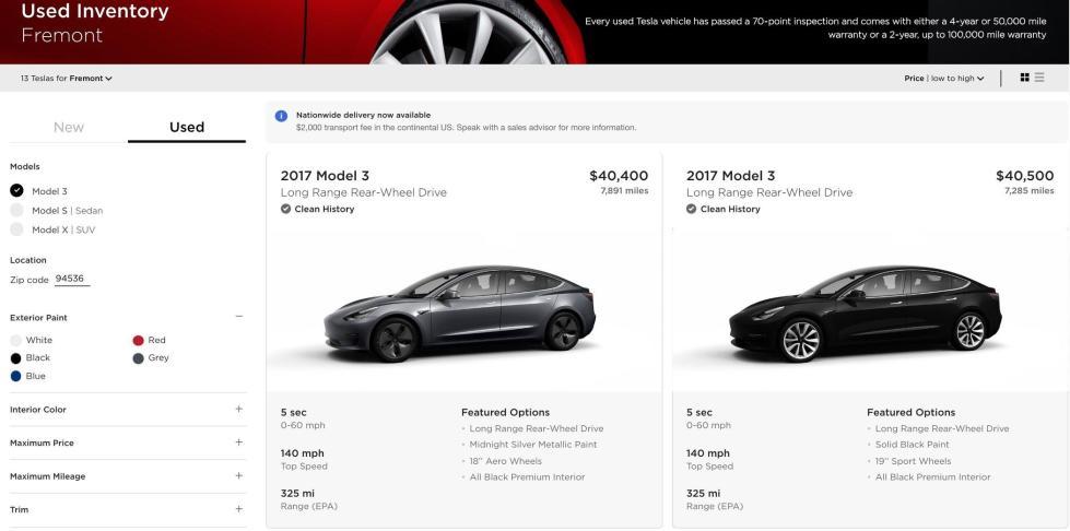 特斯拉网上售二手Model 3 价格最多便宜1.5万美元