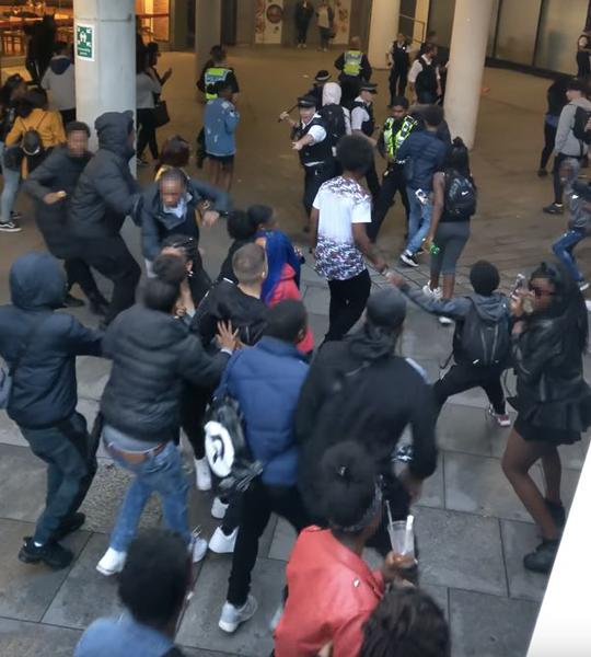 """百名青年在伦敦著名购物中心攻击警察引发""""骚乱"""""""