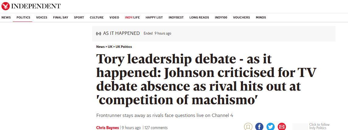 英国首相热门候选人约翰逊缺席竞选辩论,遭英国外交大臣奚落