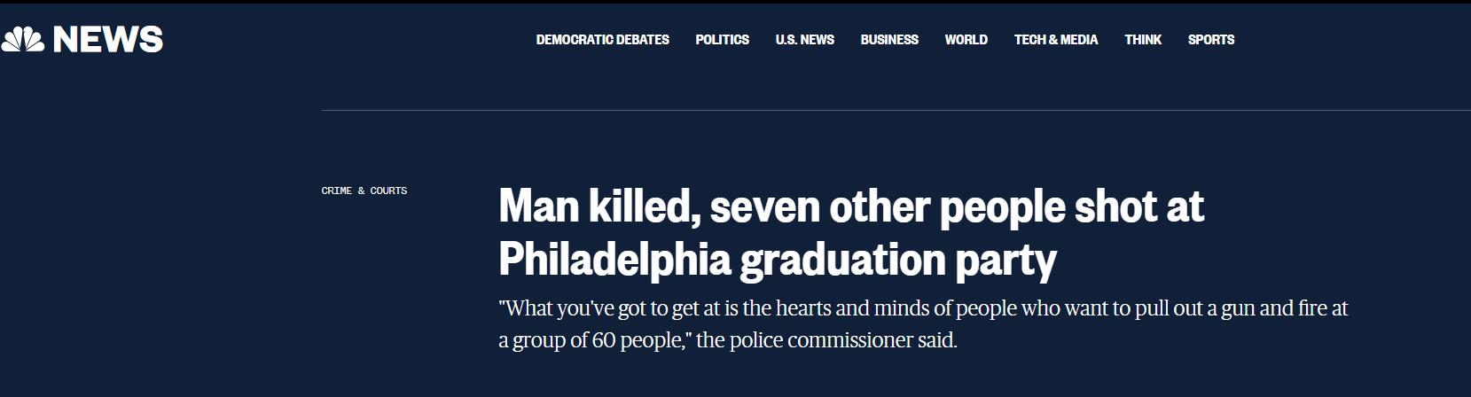 美国费城一毕业派对突发枪击案,已致1死7伤
