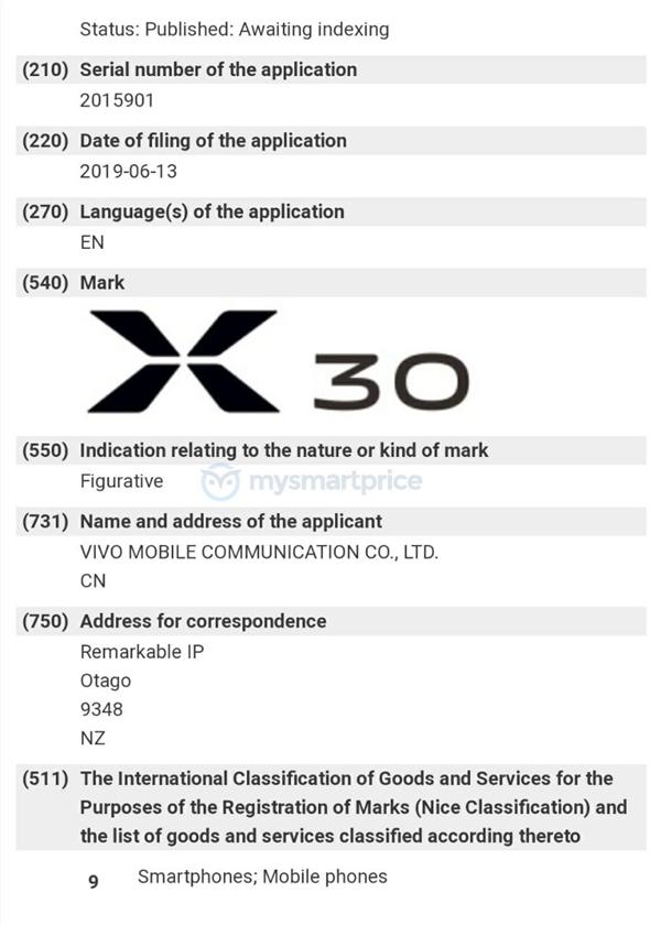 vivo注冊X30商標 疑似將搭載驍龍710處置懲罰器