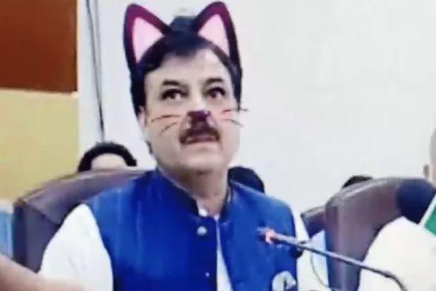 """尴尬!巴基斯坦政党会议直播时忘关""""猫咪""""滤镜"""