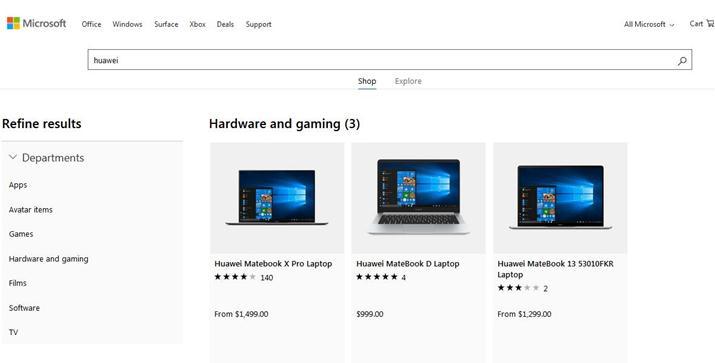 停售数周后,微软商城规复贩卖华为条记本电脑
