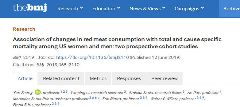 吃红肉越多,死亡风险越高?20年饮食数据研究:是的!