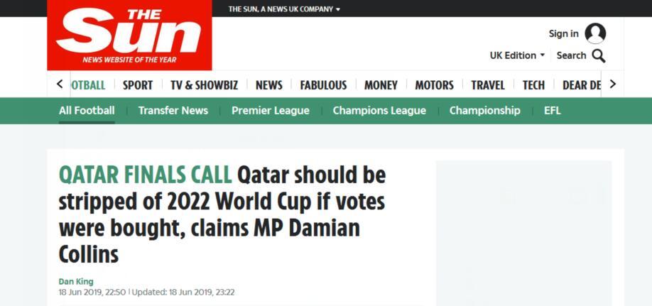 外媒:国际足联在秘密商议取消卡塔尔世界杯主办资格