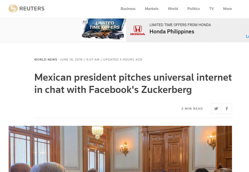 墨西哥总统请扎克伯格帮忙:帮助促进墨西哥通用互联网接入