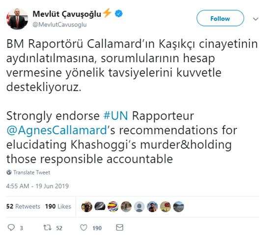 """法新社:土耳其外长""""强烈赞同""""联合国专家关于杀害卡舒吉的报告"""