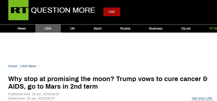 特朗普为连任许下三承诺:治癌症、除艾滋、上火星...