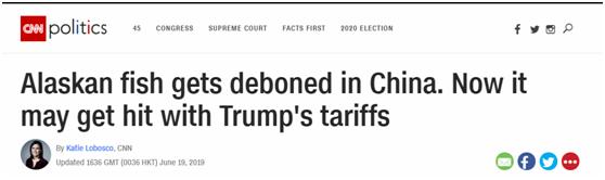 CNN:美国捞出送到中国去骨的鱼,可能成关税战最新受害者