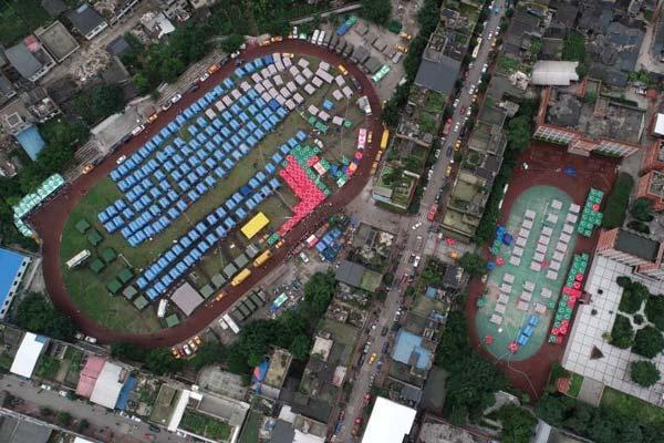 四川长宁地震 俯瞰双河镇最大的安置点