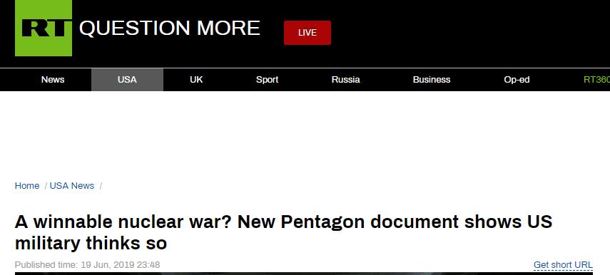 """五角大楼""""核行动""""文件被短暂公开,内容被俄媒称""""毛骨悚然"""""""