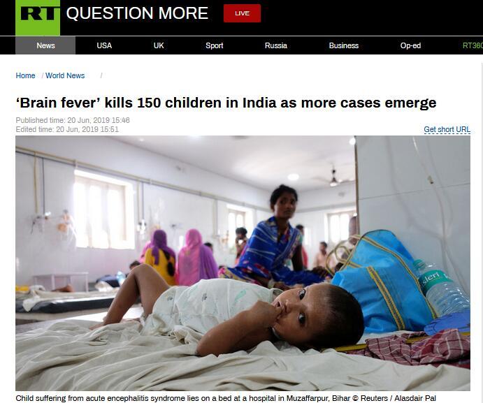 印度150名儿童因患脑炎死亡,另有400余儿童住院