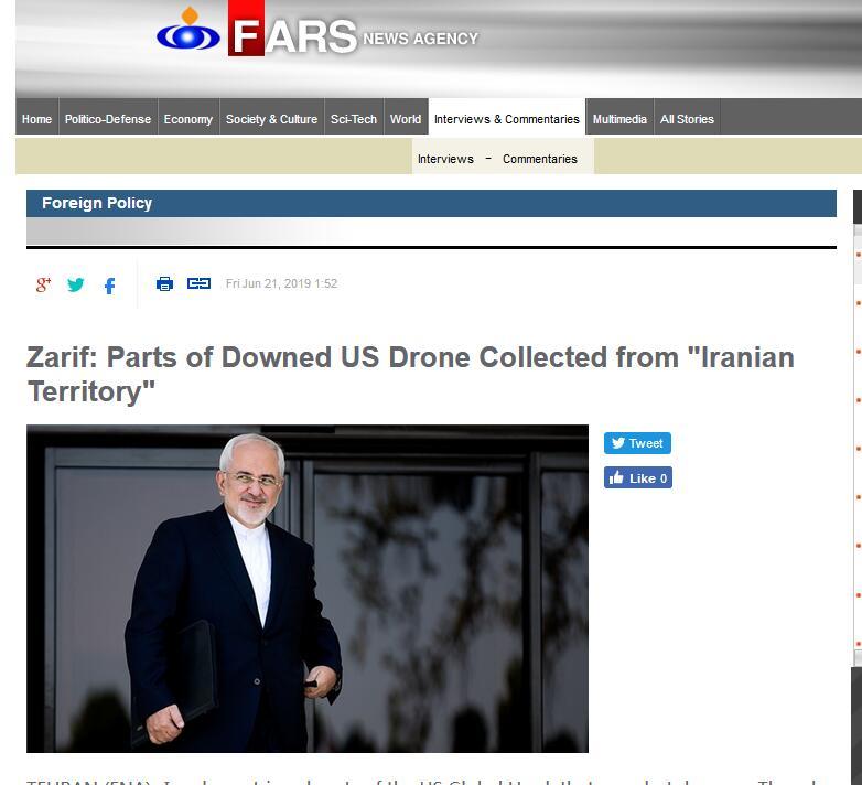 伊朗外长:在伊朗领海找到被击落美国无人机部分残骸