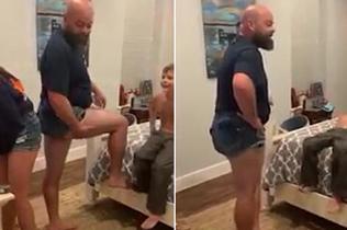 国外老爸为阻止未成年女儿穿超短裤上学放大招