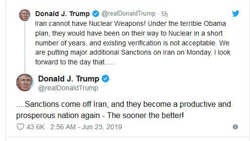 """特朗普宣布:将对伊朗实施""""重大额外制裁"""""""