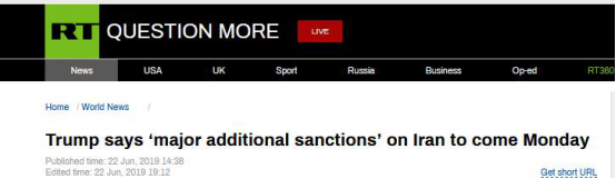 """叫停对伊军事袭击后,特朗普宣布:将于周一对伊朗实施""""重大年夜额外制裁"""""""