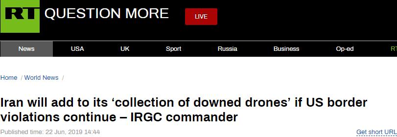 """伊朗革命卫队高官警告:击落美无人机是伊朗""""天然反响"""",再有侵犯领空""""照打不误"""""""