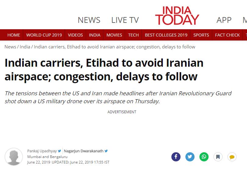 印度平易近航总局:印度航司将改变航路,避开伊朗领空受影响区域