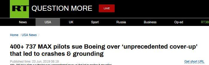400多名737MAX飞翔员状告波音:前所未有地掩盖已知设计缺点