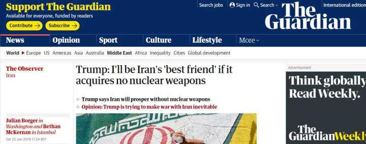 特朗普:若伊朗放弃核武,我会成为他们最好的同伙